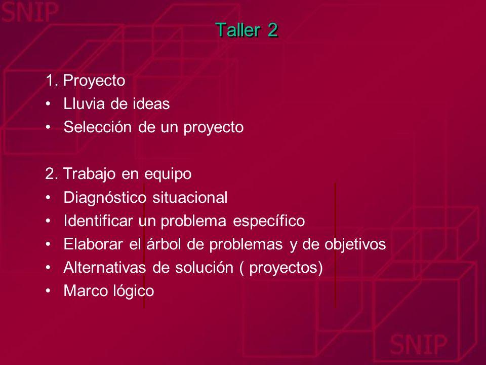Taller 2 1. Proyecto Lluvia de ideas Selección de un proyecto