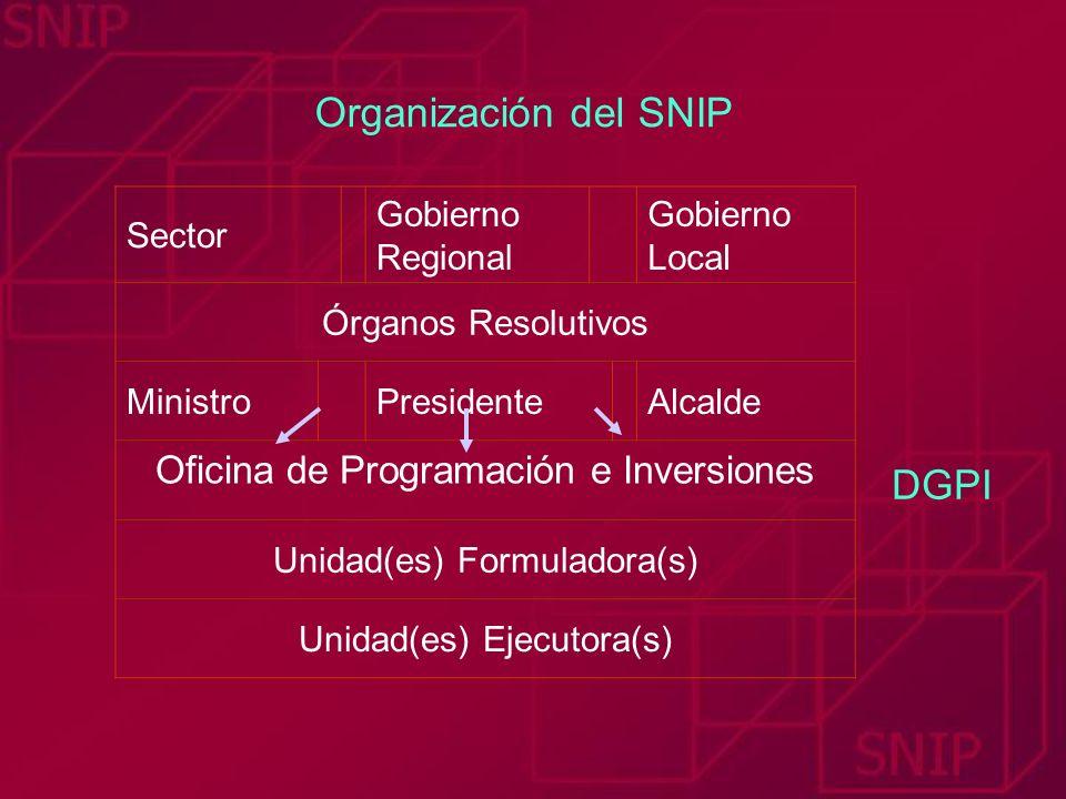 Organización del SNIP DGPI Oficina de Programación e Inversiones