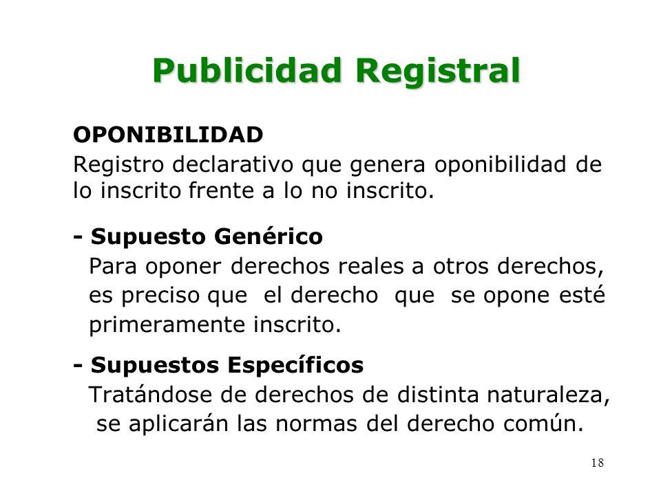 Publicidad Registral OPONIBILIDAD