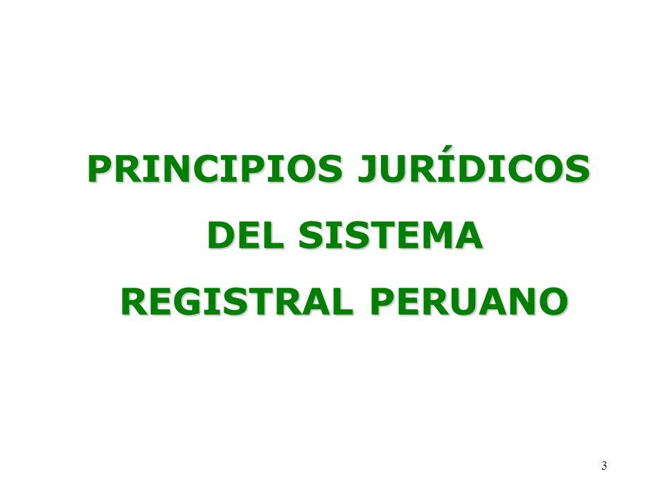PRINCIPIOS JURÍDICOS DEL SISTEMA REGISTRAL PERUANO