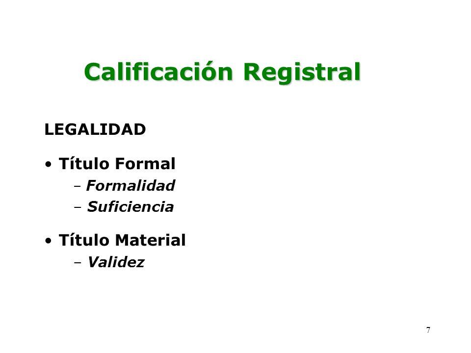 LEGALIDAD Título Formal Formalidad Suficiencia Título Material Validez