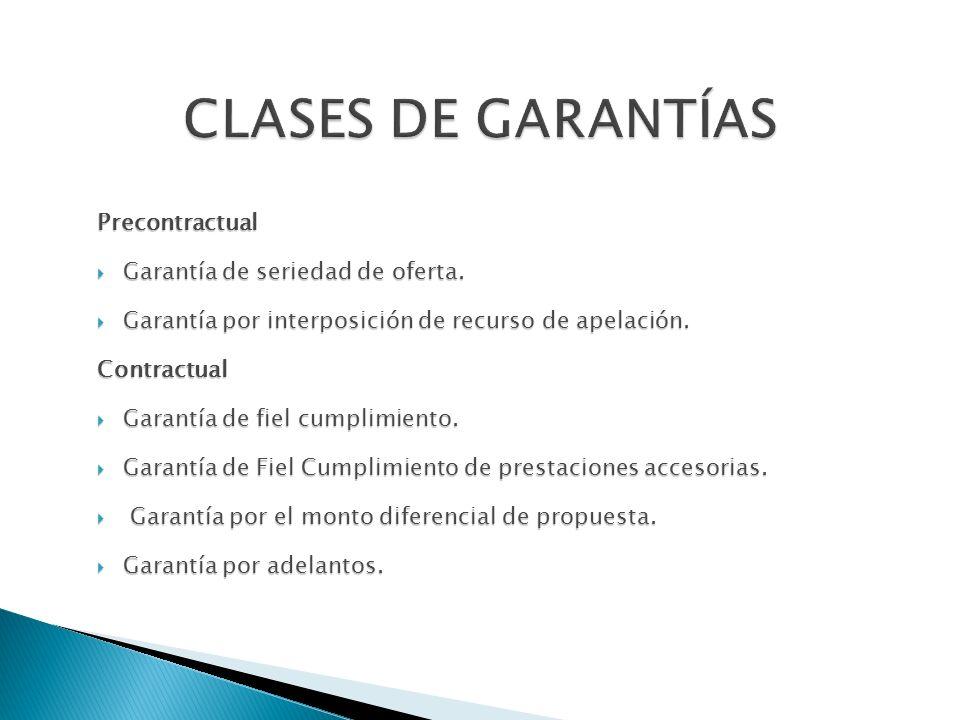 CLASES DE GARANTÍAS Precontractual Garantía de seriedad de oferta.