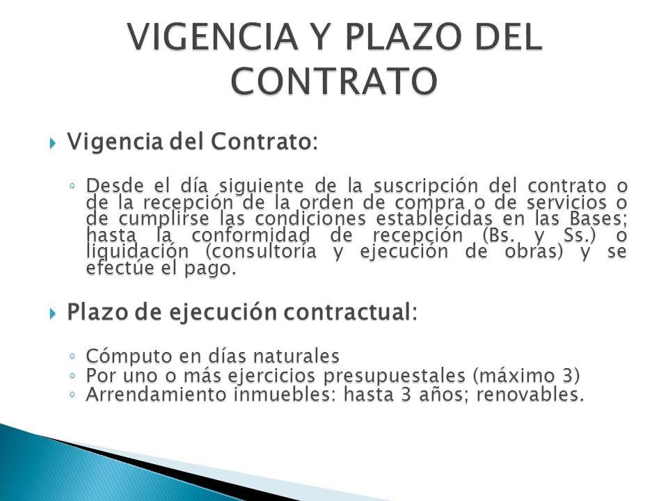 VIGENCIA Y PLAZO DEL CONTRATO
