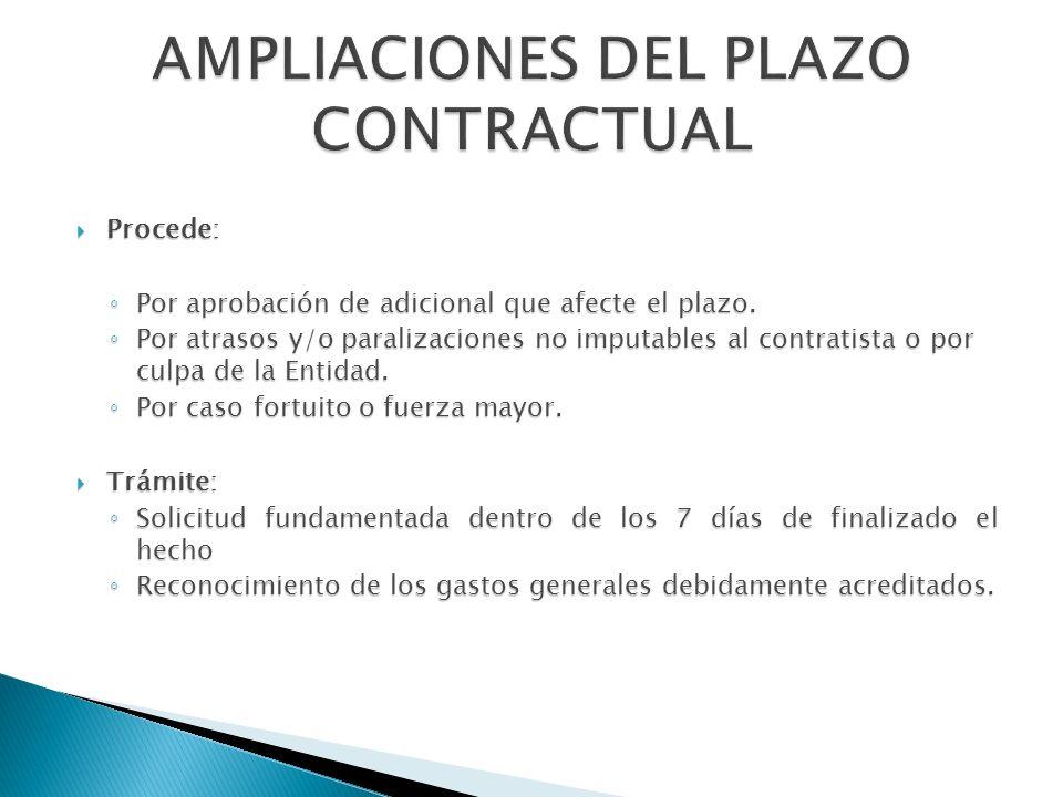 AMPLIACIONES DEL PLAZO CONTRACTUAL