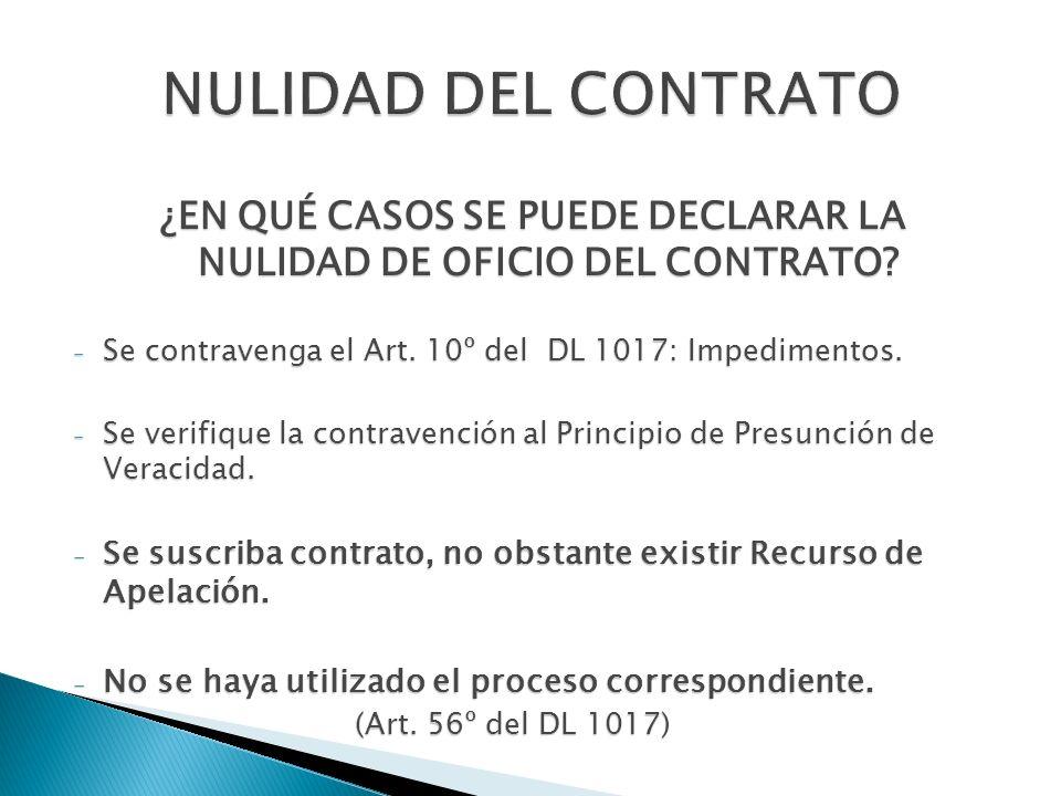 ¿EN QUÉ CASOS SE PUEDE DECLARAR LA NULIDAD DE OFICIO DEL CONTRATO