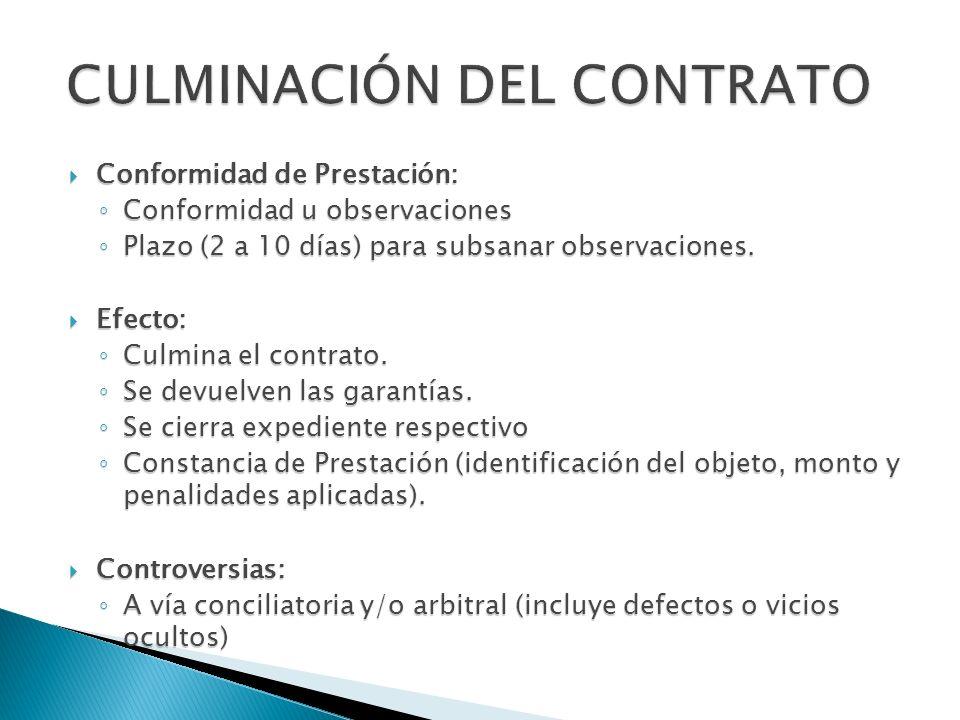 CULMINACIÓN DEL CONTRATO