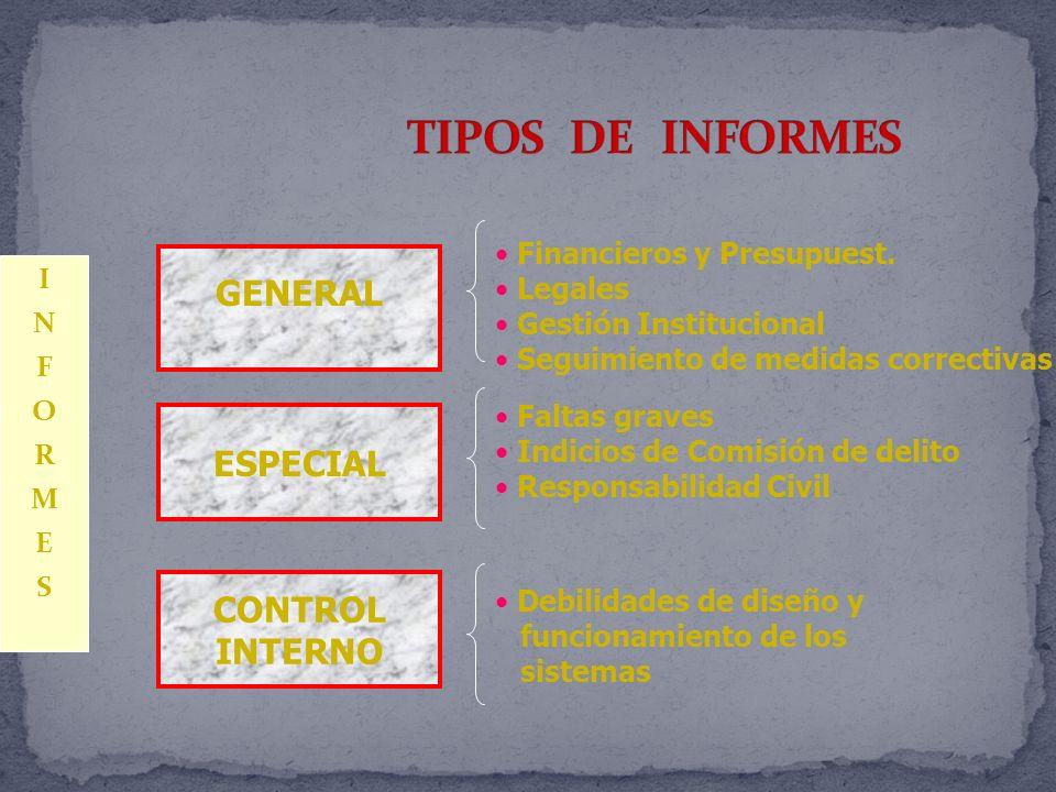 TIPOS DE INFORMES GENERAL ESPECIAL CONTROL INTERNO