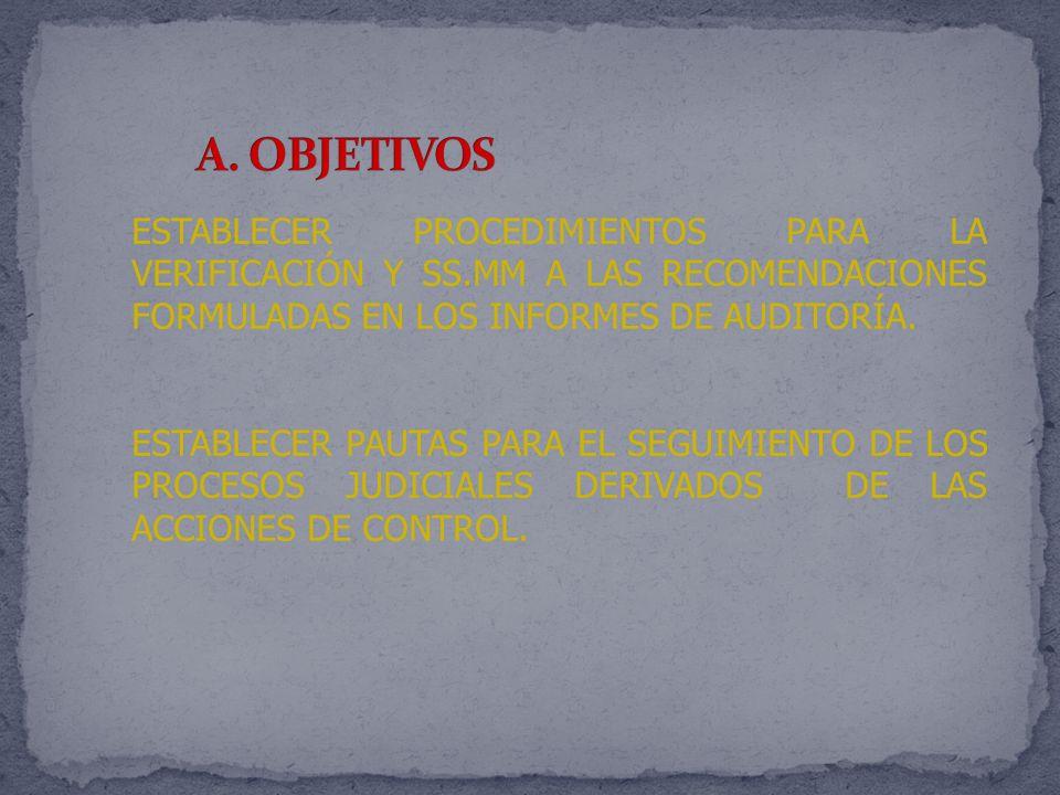 A. OBJETIVOS ESTABLECER PROCEDIMIENTOS PARA LA VERIFICACIÓN Y SS.MM A LAS RECOMENDACIONES FORMULADAS EN LOS INFORMES DE AUDITORÍA.