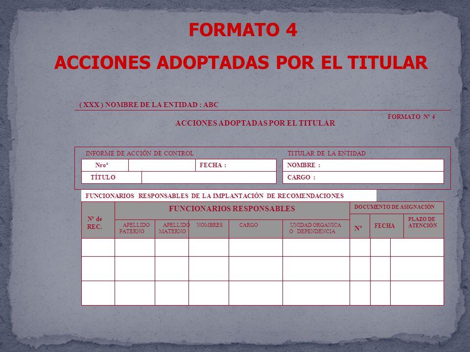 ACCIONES ADOPTADAS POR EL TITULAR