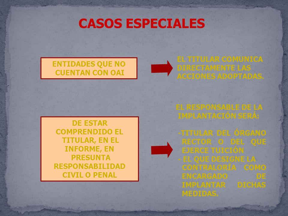 CASOS ESPECIALES EL TITULAR COMUNICA ENTIDADES QUE NO DIRECTAMENTE LAS