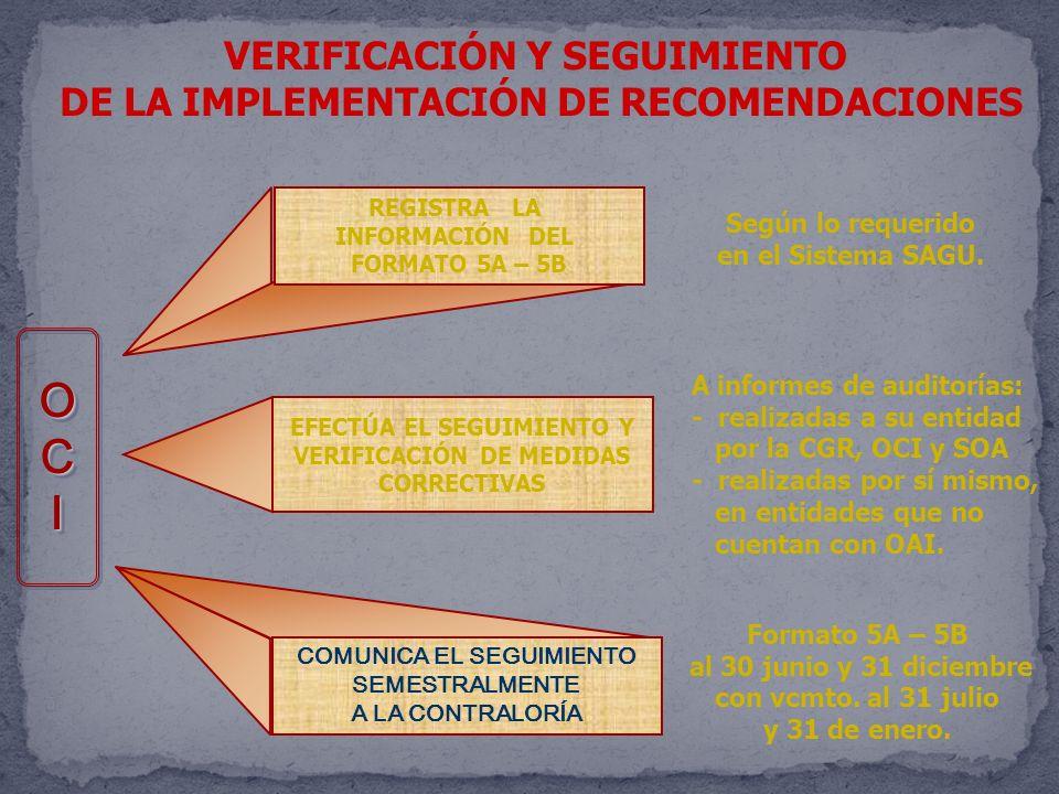 VERIFICACIÓN Y SEGUIMIENTO DE LA IMPLEMENTACIÓN DE RECOMENDACIONES