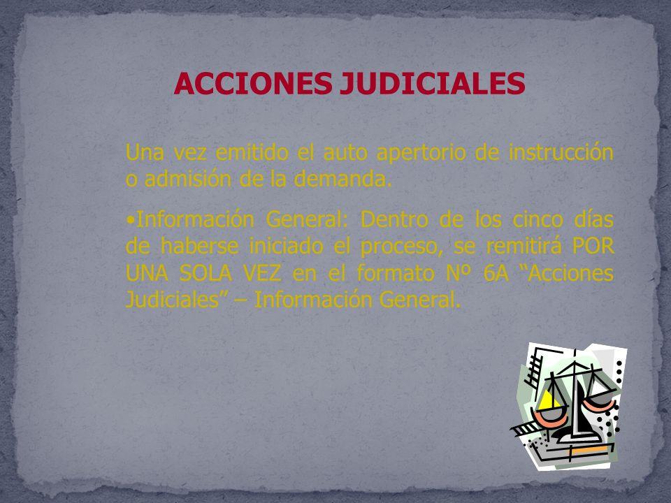 ACCIONES JUDICIALES Una vez emitido el auto apertorio de instrucción o admisión de la demanda.