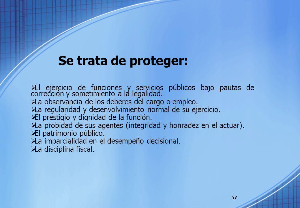 Se trata de proteger:El ejercicio de funciones y servicios públicos bajo pautas de corrección y sometimiento a la legalidad.