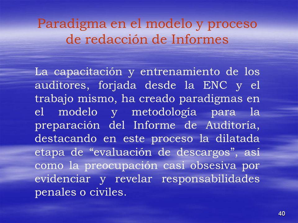 Paradigma en el modelo y proceso de redacción de Informes