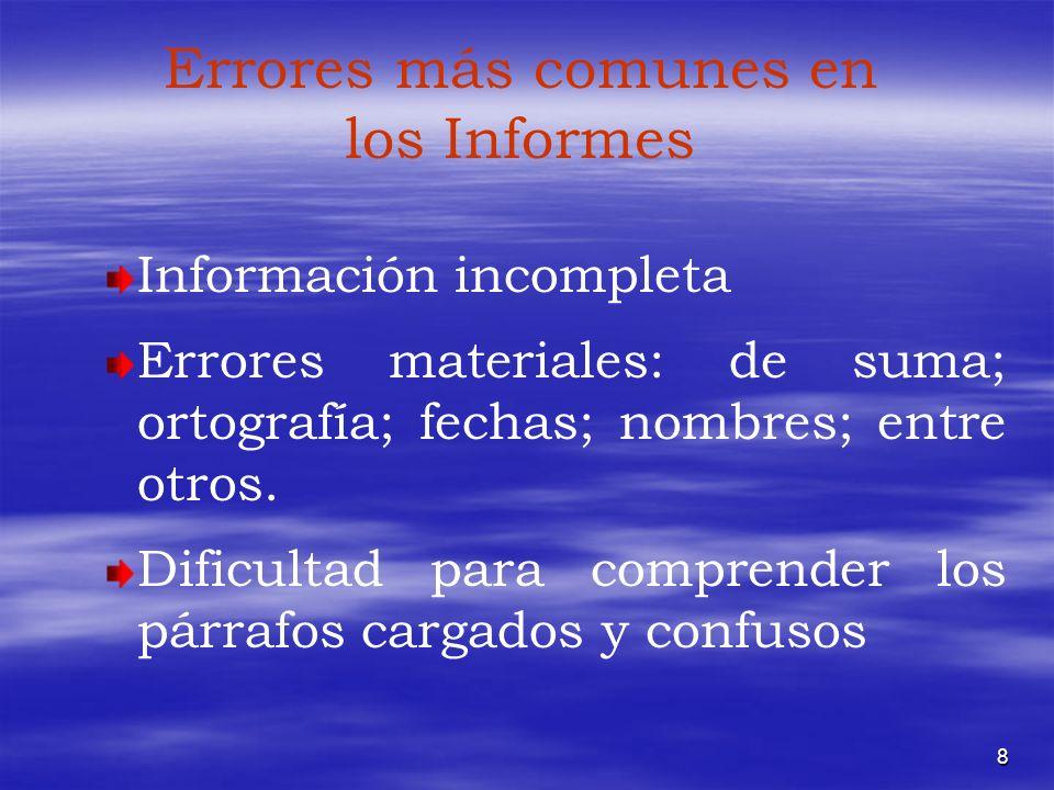 Errores más comunes en los Informes