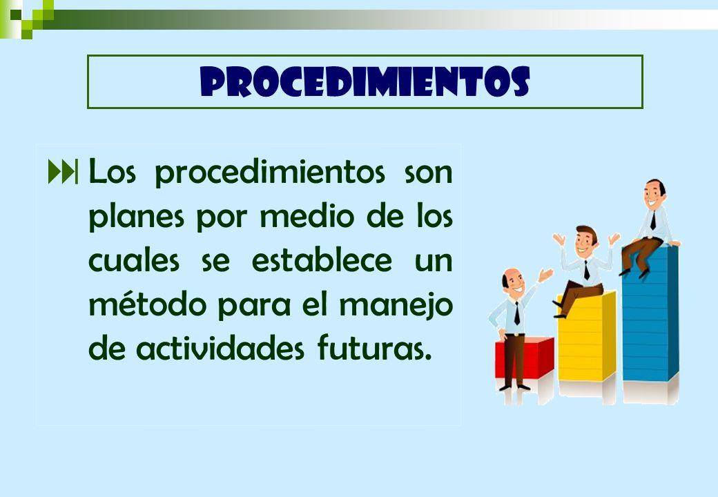 PROCEDIMIENTOS Los procedimientos son planes por medio de los cuales se establece un método para el manejo de actividades futuras.