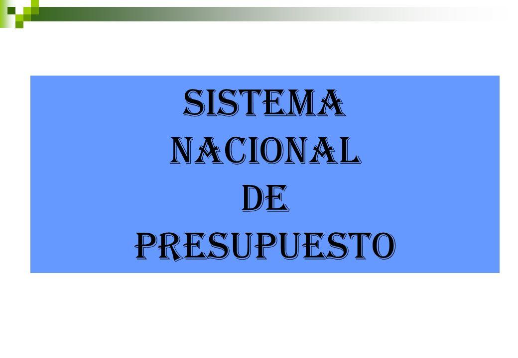 SISTEMA NACIONAL DE PRESUPUESTO