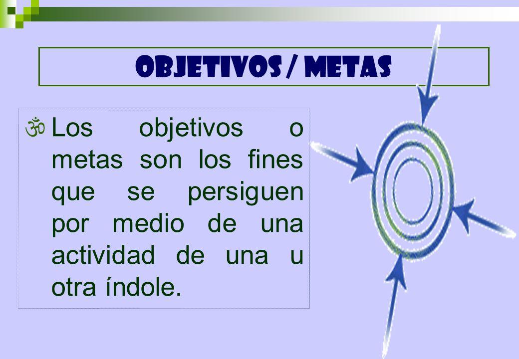 OBJETIVOS / METASLos objetivos o metas son los fines que se persiguen por medio de una actividad de una u otra índole.