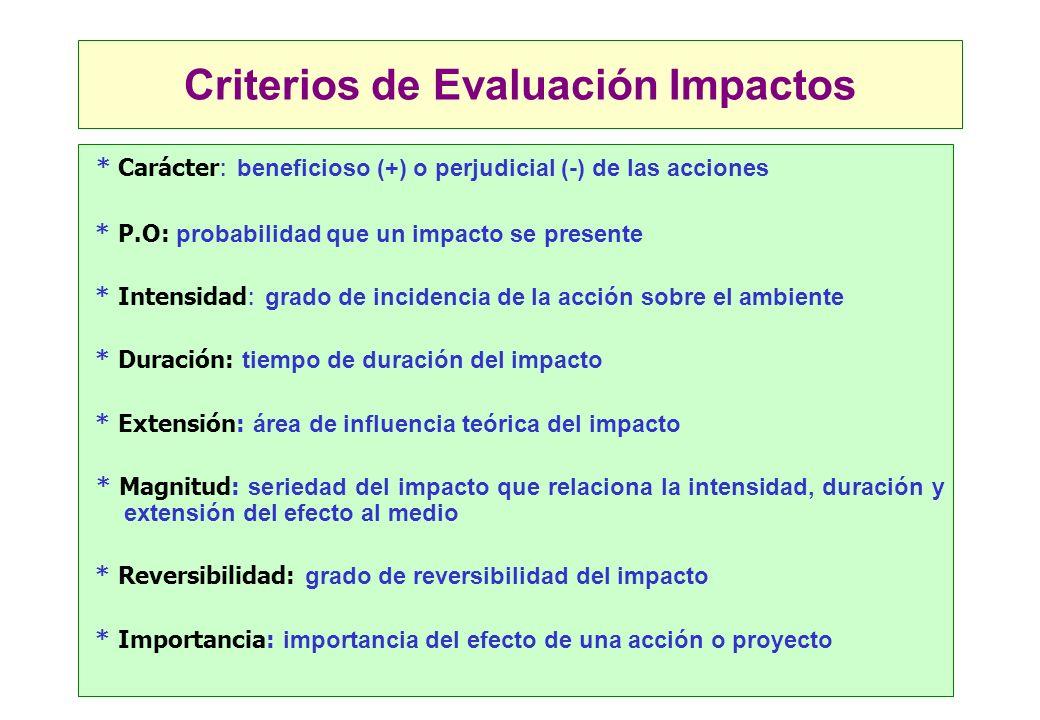 Criterios de Evaluación Impactos