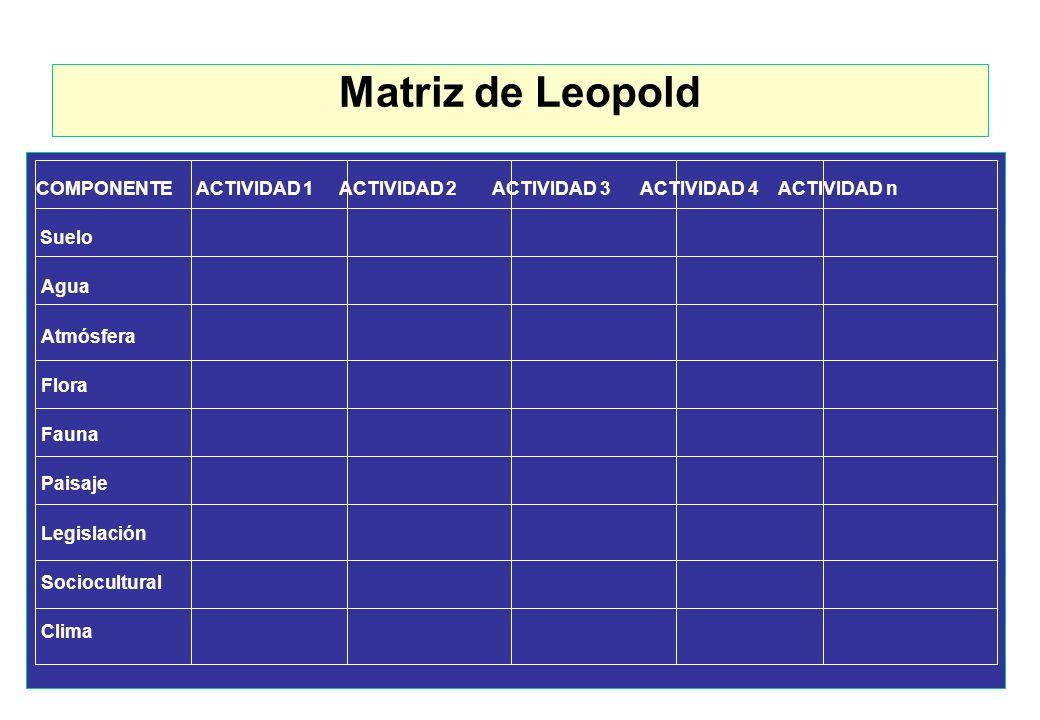 Matriz de Leopold COMPONENTE ACTIVIDAD 1 ACTIVIDAD 2 ACTIVIDAD 3 ACTIVIDAD 4 ACTIVIDAD n.