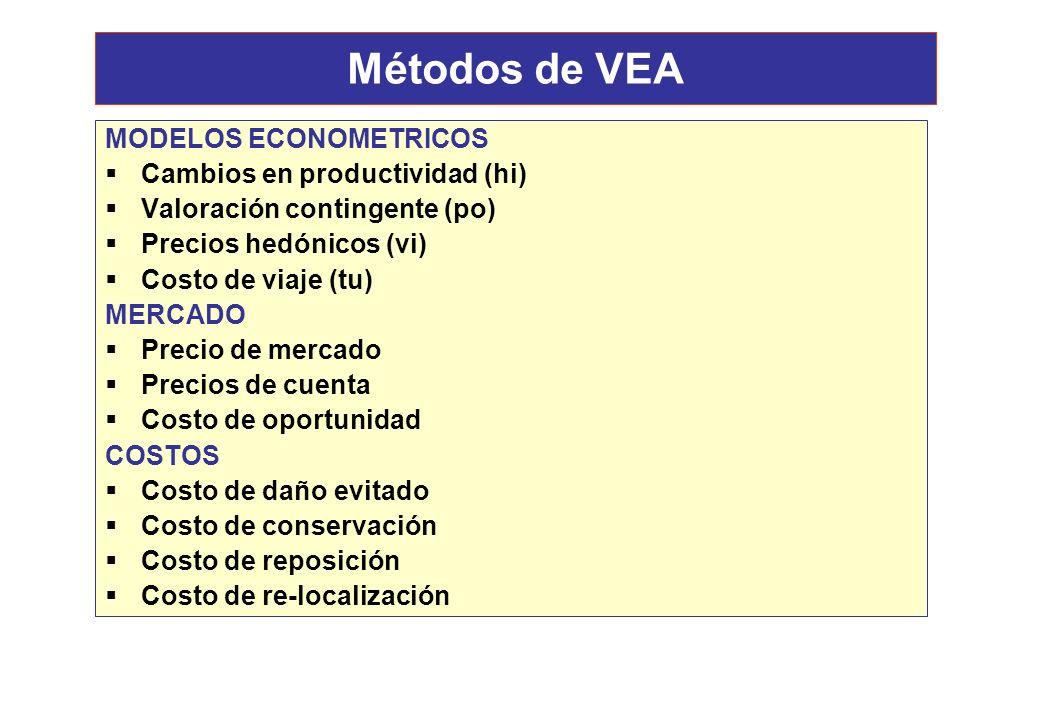 Métodos de VEA MODELOS ECONOMETRICOS Cambios en productividad (hi)