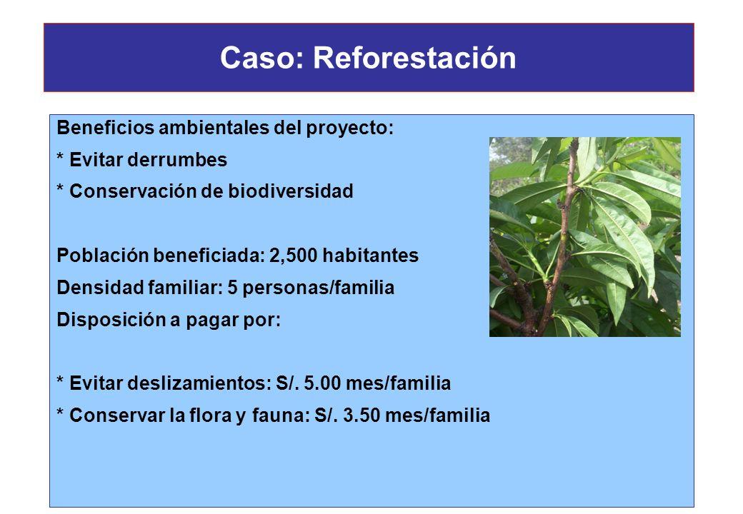 Caso: Reforestación Beneficios ambientales del proyecto: