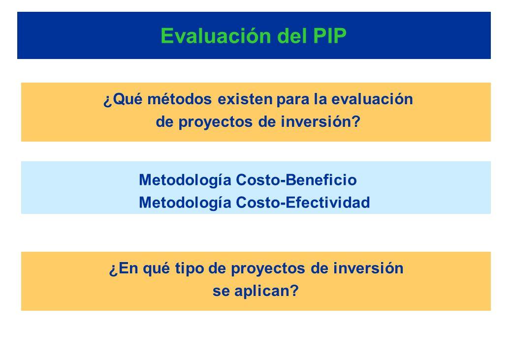 Evaluación del PIP ¿Qué métodos existen para la evaluación