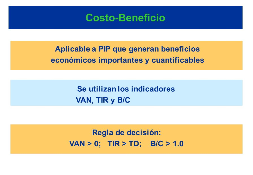 Costo-Beneficio Aplicable a PIP que generan beneficios