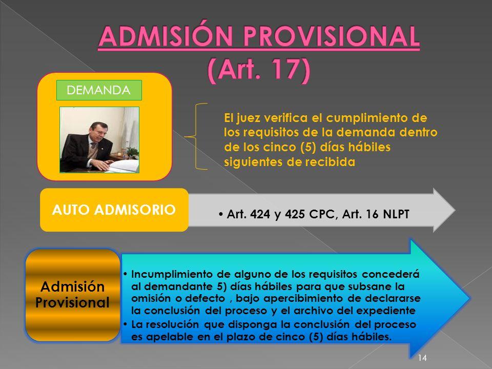ADMISIÓN PROVISIONAL (Art. 17)