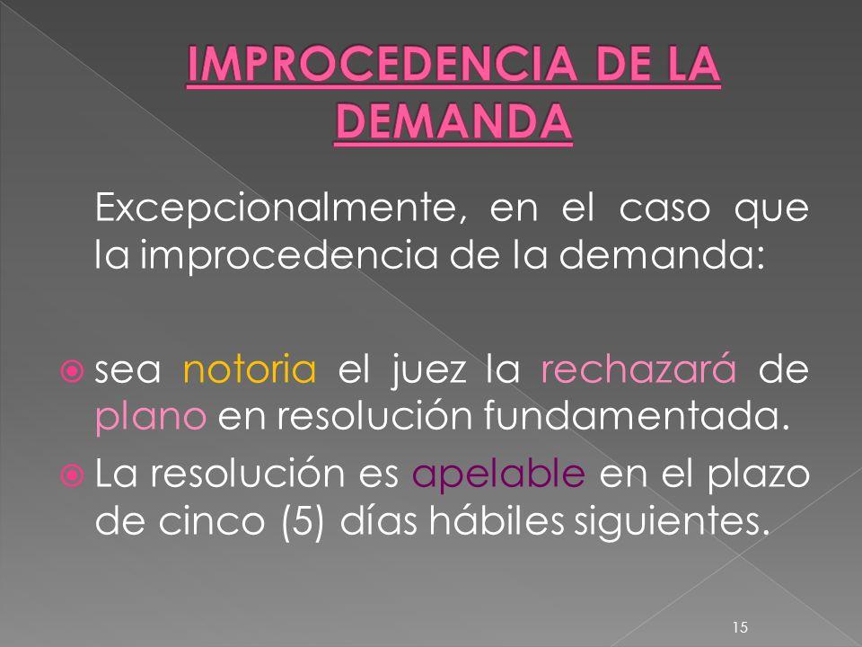 IMPROCEDENCIA DE LA DEMANDA