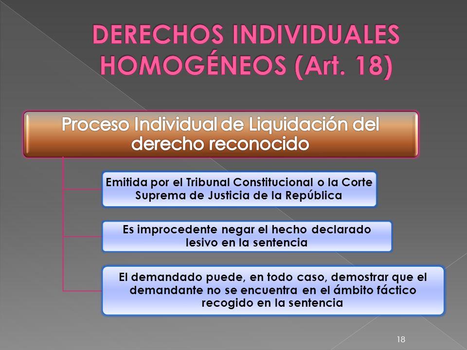 DERECHOS INDIVIDUALES HOMOGÉNEOS (Art. 18)