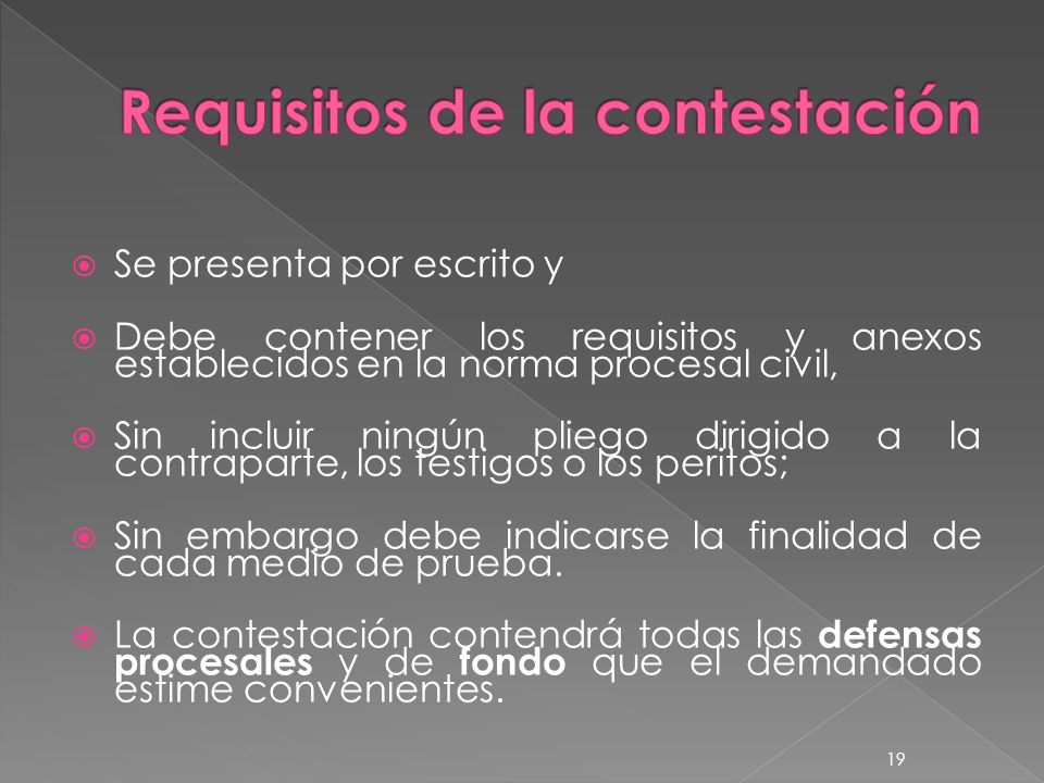 Requisitos de la contestación