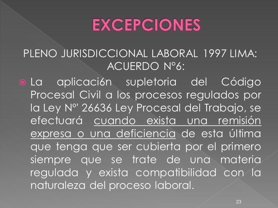 PLENO JURISDICCIONAL LABORAL 1997 LIMA: ACUERDO N°6: