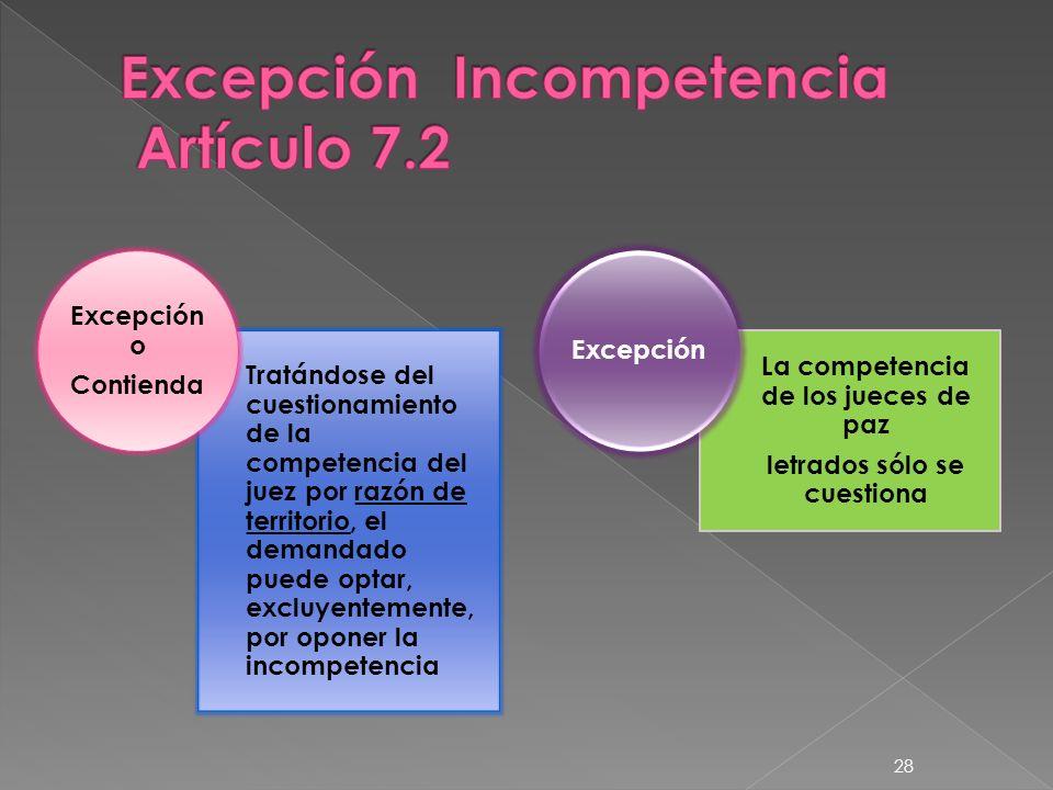 Excepción Incompetencia Artículo 7.2