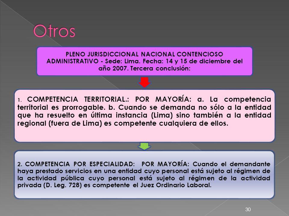 Otros PLENO JURISDICCIONAL NACIONAL CONTENCIOSO ADMINISTRATIVO - Sede: Lima. Fecha: 14 y 15 de diciembre del año 2007. Tercera conclusión: