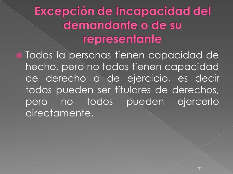 Excepción de Incapacidad del demandante o de su representante