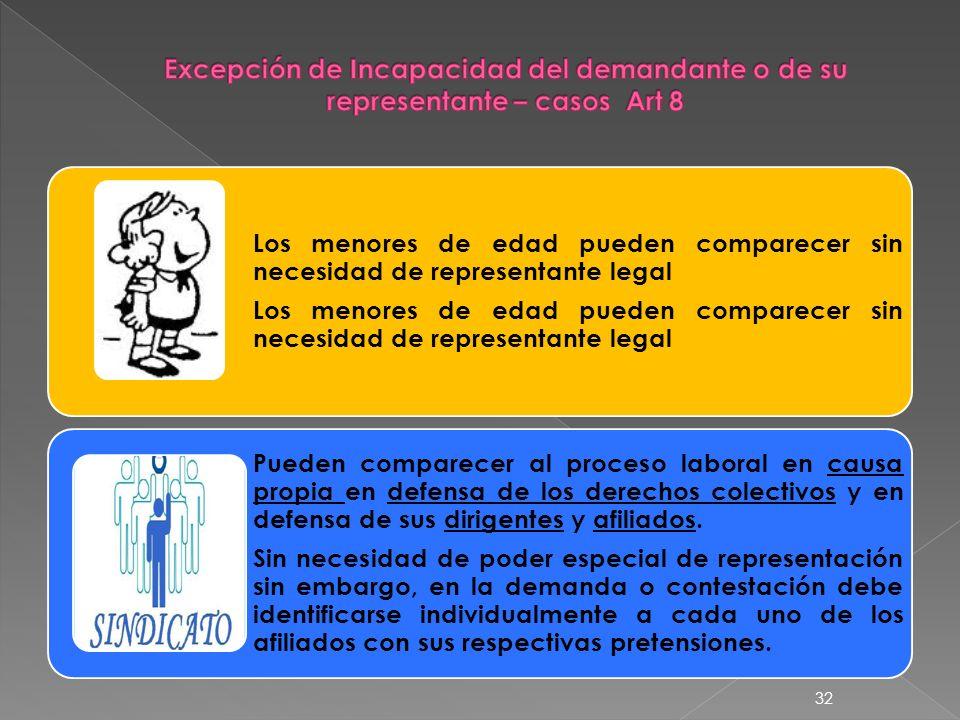 Excepción de Incapacidad del demandante o de su representante – casos Art 8
