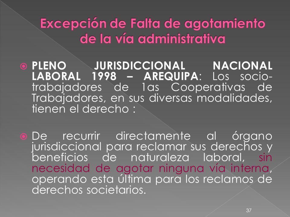 Excepción de Falta de agotamiento de la vía administrativa