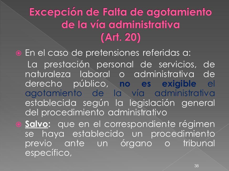 Excepción de Falta de agotamiento de la vía administrativa (Art. 20)