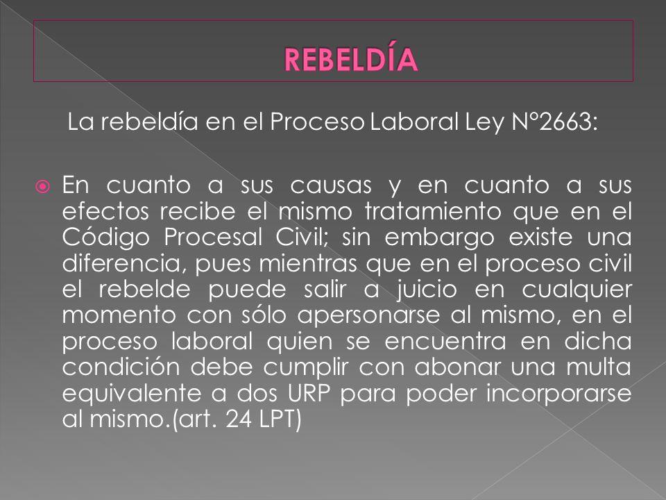 La rebeldía en el Proceso Laboral Ley N°2663: