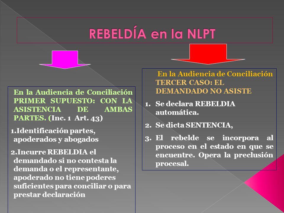 REBELDÍA en la NLPT En la Audiencia de Conciliación TERCER CASO: EL DEMANDADO NO ASISTE. Se declara REBELDIA automática.