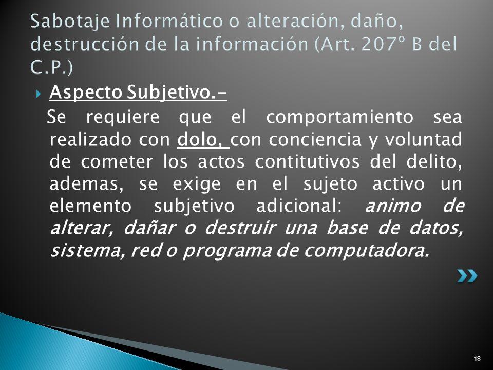 Sabotaje Informático o alteración, daño, destrucción de la información (Art. 207º B del C.P.)