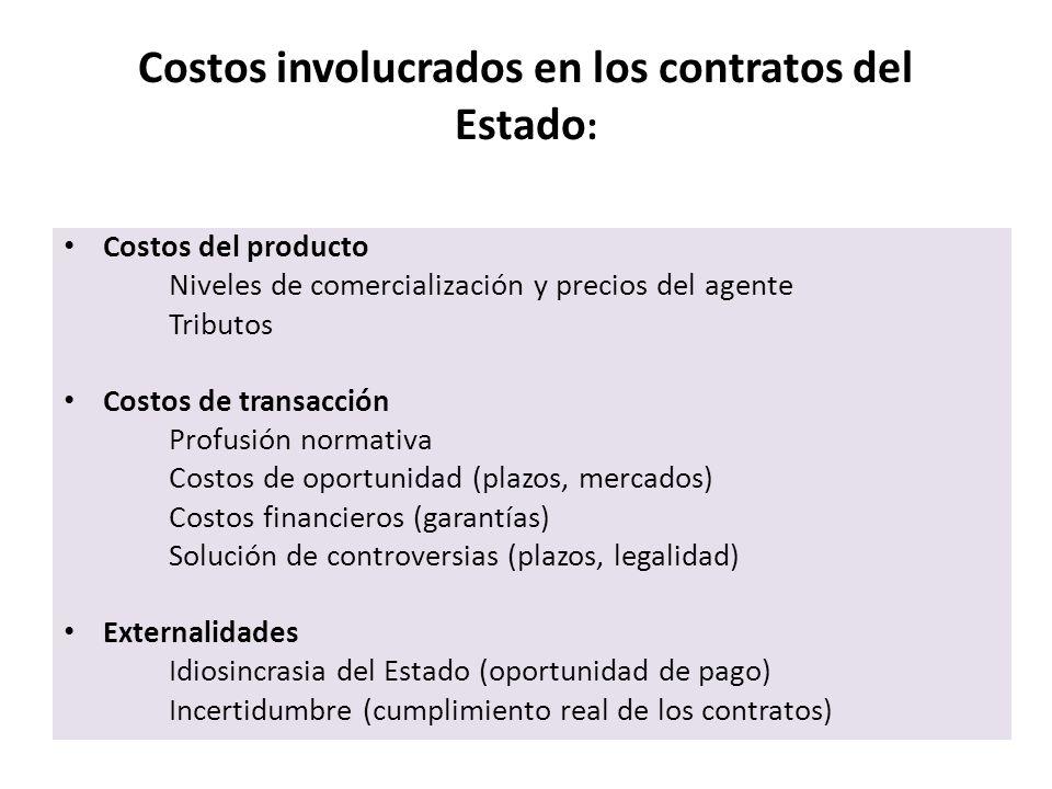 Costos involucrados en los contratos del Estado: