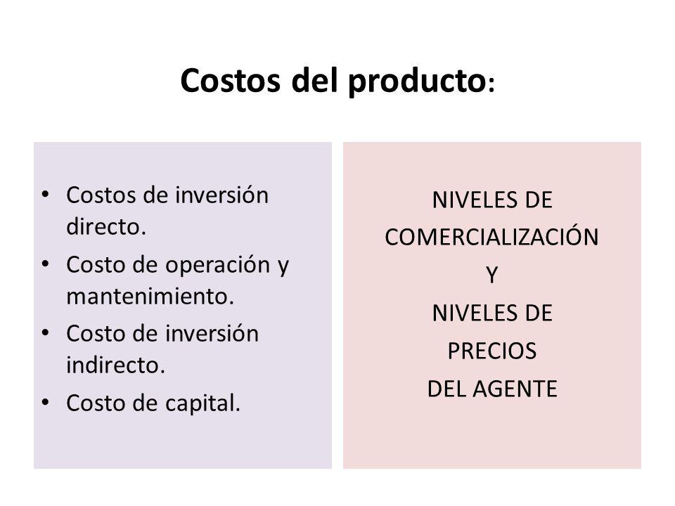 Costos del producto: Costos de inversión directo. NIVELES DE