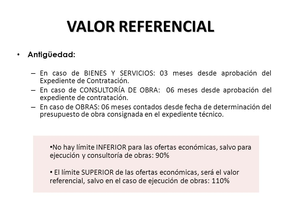 VALOR REFERENCIAL Antigüedad: