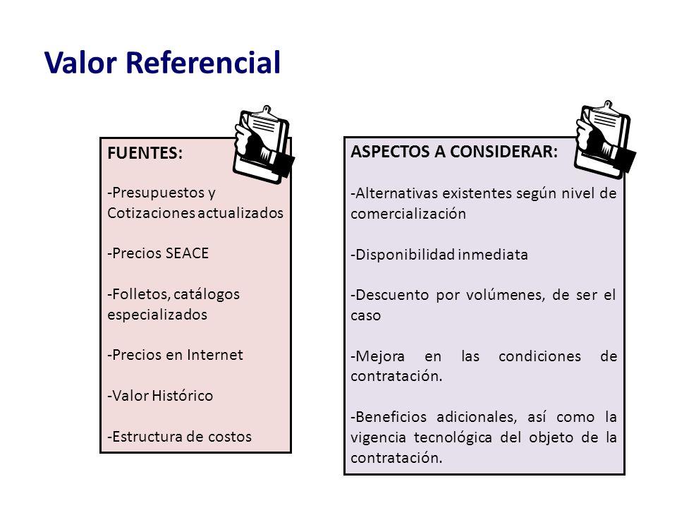 Valor Referencial FUENTES: ASPECTOS A CONSIDERAR: