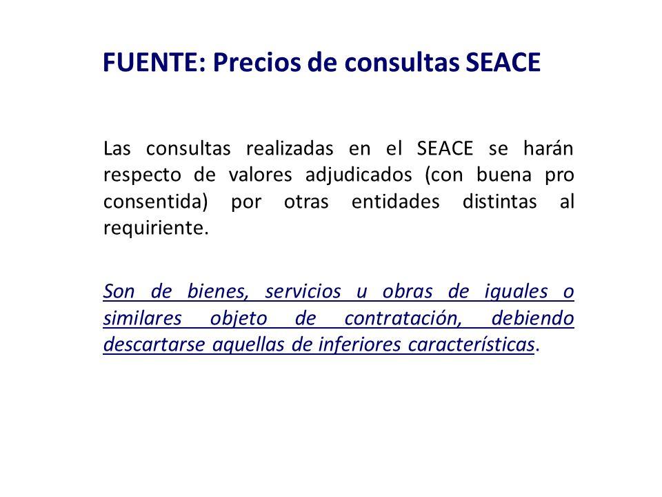 FUENTE: Precios de consultas SEACE