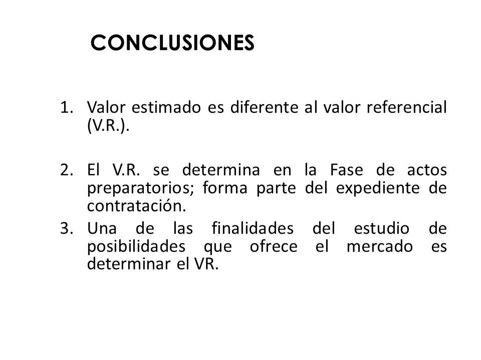 CONCLUSIONES Valor estimado es diferente al valor referencial (V.R.).