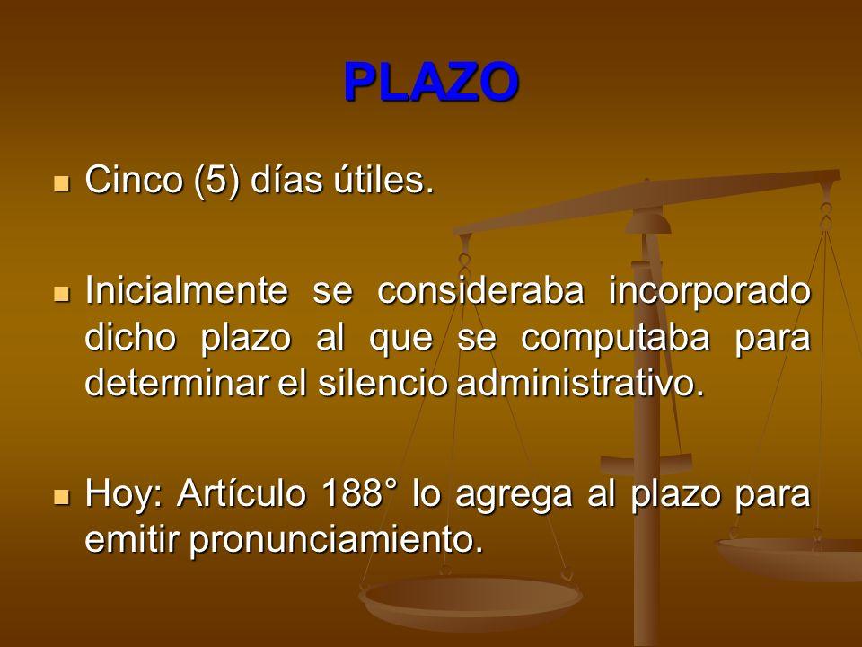 PLAZO Cinco (5) días útiles.