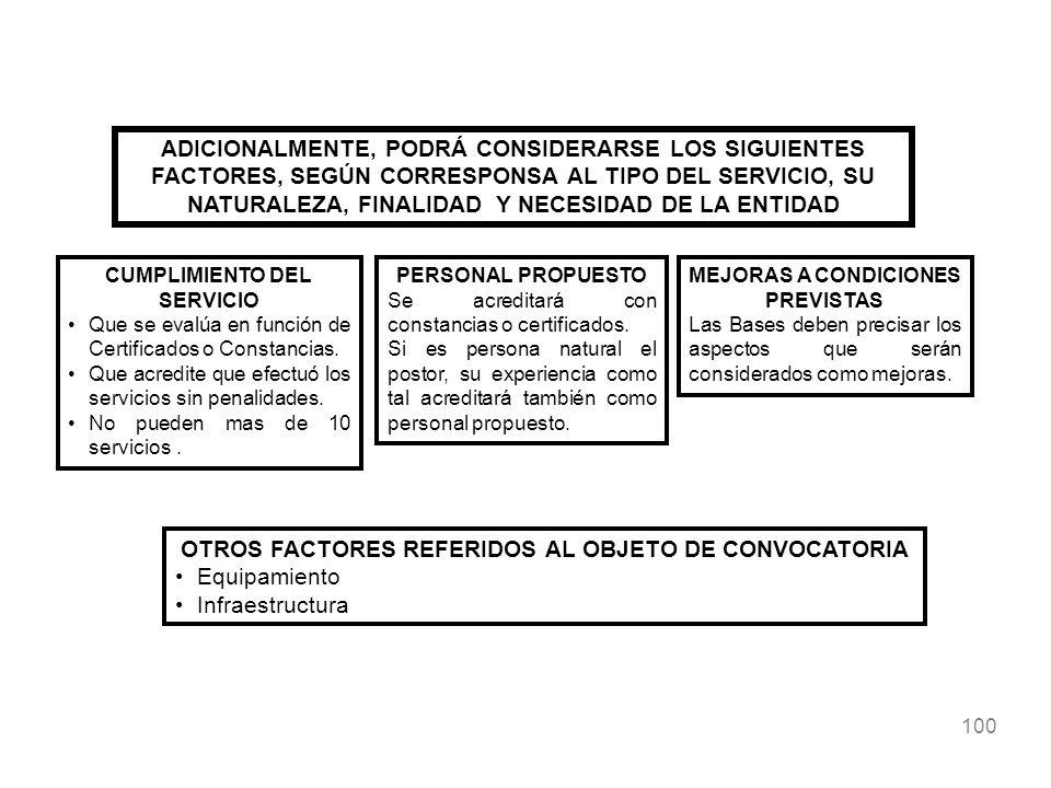 OTROS FACTORES REFERIDOS AL OBJETO DE CONVOCATORIA Equipamiento